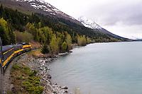 The Alaska Railroad's Coastal Classic train runs past Kenai Lake on its way to Seward.