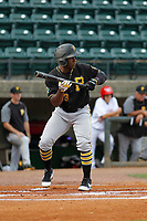 Bristol Pirates outfielder Yondry Contreras (23) at bat during a game against the Greeneville Reds at Pioneer Field on June 20, 2018 in Greeneville, Tennessee. Bristol defeated Greeneville 11-0. (Robert Gurganus/Four Seam Images)
