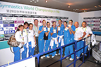 September 12, 2009; Mie, Japan;  With delegation and coaches, the Italian rhythmic group wins gold in group All Around at the 2009 World Championships Mie, Japan. Photo by Tom Theobald .