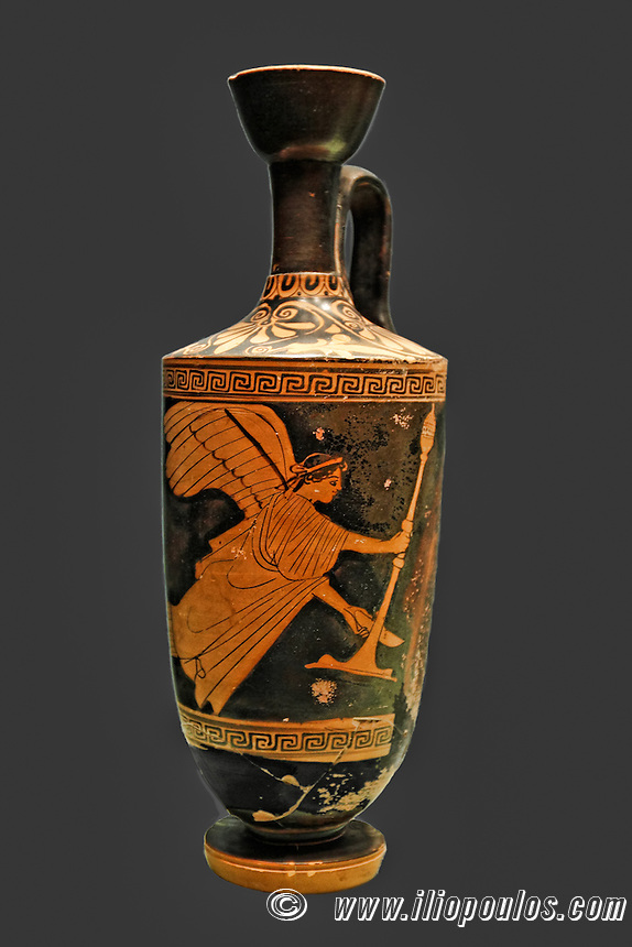 Red-figure lekythos with winged Nike holding thymiaterion and bowl (470 B.C.) in National Museum, Greece