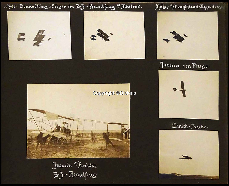 BNPS.co.uk (01202 558833)<br /> Pic: Dickins/BNPS<br /> <br /> The early WW1 aircraft were incredibly flimsy.<br /> <br /> An unseen album of photographs showing life and death on a German air base during WW1 has emerged for sale - illustrating the precarious existence of Great War airmen was the same for both sides.<br /> <br /> Fascinating never before seen photos taken by a German pilot and photographer in the First World War have come to light.<br /> <br /> The photo album was collated by Rudi Porta, of the Imperial German Flying Corps, who was based in Flanders for the duration of the conflict.<br /> <br /> Interspersed with dramatic snaps of aircraft wreckage are candid images of German soldiers hunting pheasant and letting their hair down at formal dinners.<br /> <br /> In addition, the photo album provides an intriguing glimpse into the sheer scale of the feared Zeppelin which terrorised Britain in in the early skirmishes of the war.