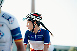 Jade Wiel (FRA) FDJ Nouvelle-Aquitaine Futuroscope at sign on before the start of La Course 2019 By Le Tour running 121km from Pau to Pau, France. 19th July 2019.<br /> Picture: ASO/Thomas Maheux | Cyclefile<br /> All photos usage must carry mandatory copyright credit (© Cyclefile | ASO/Thomas Maheux)