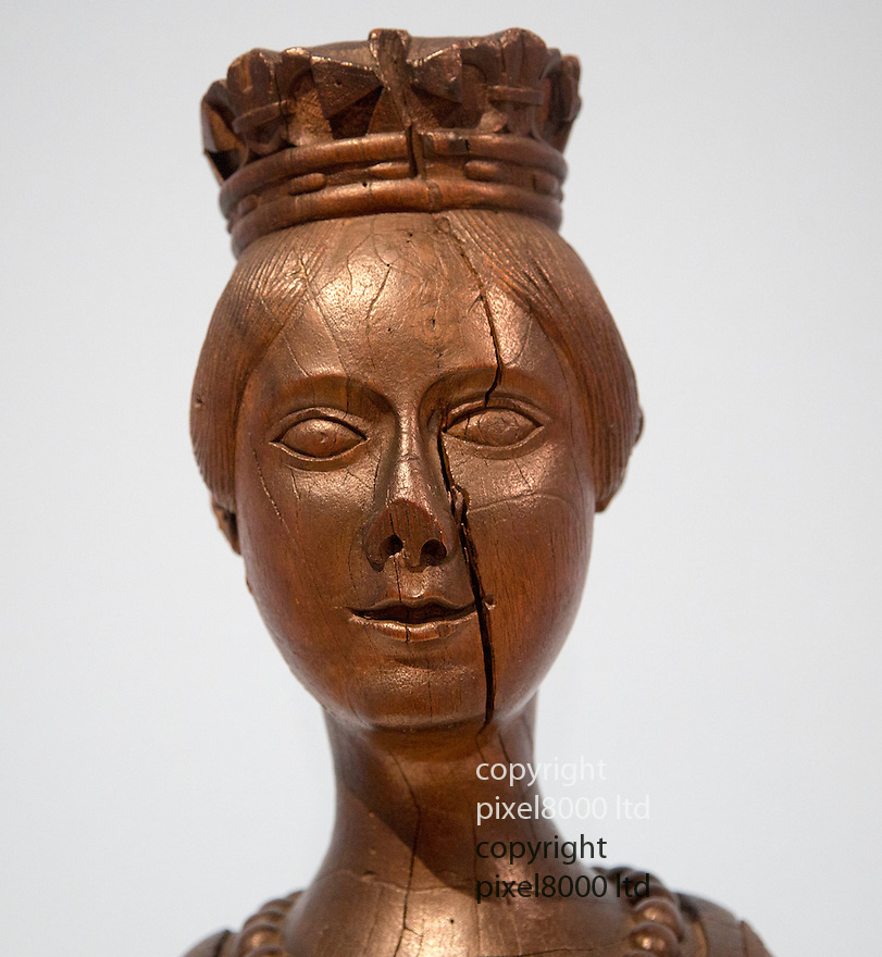 Exhibition of British Folk Art<br /> Tate Britain London<br /> Exhibition includes old wooden figure heads taken from navy ships.<br /> <br /> This one is young Queen Victoria<br /> <br /> <br /> <br /> Pic by Gavin Rodgers/Pixel 8000 Ltd