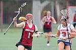 Santa Barbara, CA 02/18/12 - Tori Rutherford (Santa Clara #1) and Maya Dillard (Arizona #3) in action during the Santa Clara-Arizona game at the 2012 Santa Barbara Shootout.  Santa Clara defeated Arizona 18-9.
