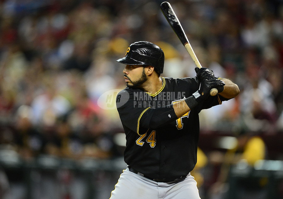 Apr. 17, 2012; Phoenix, AZ, USA; Pittsburgh Pirates infielder Pedro Alvarez at bat against the Arizona Diamondbacks at Chase Field. Mandatory Credit: Mark J. Rebilas-