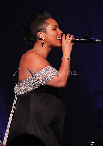 NEW YORK, NY - OCTOBER 30: Alicia Keys performs at her Keep A Child Alive 11th Annual Black Ball at the Hammerstein Ballroom, October 30th 2014 in New York City. Credit: Walik Goshorn/MediaPunch