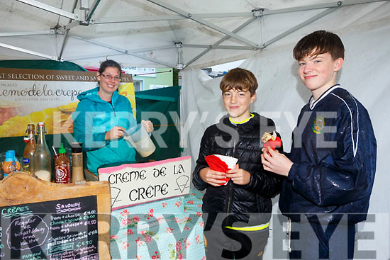 Enjoying the Tralee Chamber Alliance annual Food Festival in the Square on Saturday were John Duggan and James McCarthy with Maria Charland crème de la crepe