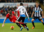Georgina Wijnaldum of Newcastle United tackled by James Milner of Liverpool - English Premier League - Newcastle Utd vs Liverpool - St James' Park Stadium - Newcastle Upon Tyne - England - 6th December 2015 - Picture Simon Bellis/Sportimage