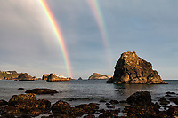 A double rainbow along the Oregon Coast near Brookings, Oregon.