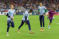 Houston, TX - Thursday July 20, 2017: Manchester City Goalkeepers warming up during a match between Manchester United and Manchester City in the 2017 International Champions Cup at NRG Stadium.