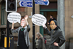 © Joel Goodman - 07973 332324 . 12/11/2016 . Manchester , UK . Protesters wearing Theresa May and Sajid Javid masks . Approximately 2000 people march and rally against Fracking in Manchester City Centre . Photo credit : Joel Goodman
