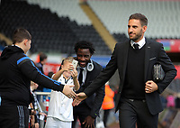 Angel Rangel of Swansea City arrives prior to the game during the Premier League match between Swansea City and Watford at The Liberty Stadium, Swansea, Wales, UK. Saturday 23 September 2017