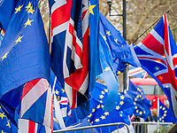 LONDON, ENGLAND - JANUARY 15: Europe and Englad flag tougheter  outside the House of Commons on January 15, 2019 in London, England. Theresa May's Brexit deal finally reaches the House of Commons this evening and MPs will begin voting on it at 7pm. The Prime Minister has consistently said her's is the only deal that Brussels will entertain and urged support from Parliament to avoid the UK crashing out of the European Union with no deal. Photo Adamo Di Loreto