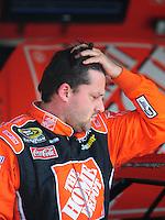 Sept. 26, 2008; Kansas City, KS, USA; Nascar Sprint Cup Series driver Tony Stewart during qualifying for the Camping World RV 400 at Kansas Speedway. Mandatory Credit: Mark J. Rebilas-