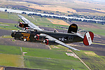 The last flying Consolidated  B-24 Liberator bomber flies over the Delta Region of California's Central Valley. Now owned and operated by the Collings Foundation th B-24 was originally built in 1944 by Consolidated Aircraft in Fort Worth, Texas. Originally delivered to the US Army Air Force it was later transferred to the Royal Air Force and saw combat in the Pacific Theater.