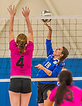 18 October 2015: Yeshiva University Maccabee Middle Blocker Marissa Almoslino, a Junior from Seattle, WA, in action against the Sage College Gators, at the Peter Sharp Center, College of Mount Saint Vincent, in Riverdale, NY. The Gators defeated the Maccabees 3-0 in the NCAA Division III Women's Volleyball Skyline matchup. Mandatory Credit: Ed Wolfstein Photo *** RAW (NEF) Image File Available ***