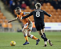Blackpool's Jay Spearing holds off the challenge from Barnsley's Cameron McGeehan<br /> <br /> Photographer Rich Linley/CameraSport<br /> <br /> The EFL Sky Bet League One - Blackpool v Barnsley - Saturday 22nd December 2018 - Bloomfield Road - Blackpool<br /> <br /> World Copyright &copy; 2018 CameraSport. All rights reserved. 43 Linden Ave. Countesthorpe. Leicester. England. LE8 5PG - Tel: +44 (0) 116 277 4147 - admin@camerasport.com - www.camerasport.com