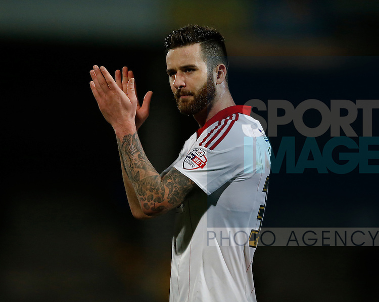 David Edgar of Sheffield Utd applauds the fans - English League One - Scunthorpe Utd vs Sheffield Utd - Glandford Park Stadium - Scunthorpe - England - 19th December 2015 - Pic Simon Bellis/Sportimage