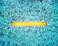 MAGNETIC FIELD OF BAR MAGNET<br /> Indicated By The Alignment Of Iron Filings.