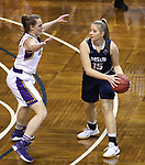 SIOUX FALLS, SD: MARCH 19:  Vanessa Stavish #15 of MSU Billings looks past Ashland defender Laina Snyder #3 during their game at the 2018 Division II Women's Elite 8 Basketball Championship at the Sanford Pentagon in Sioux Falls, S.D. (Photo by Dick Carlson/Inertia)
