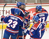Shayne Thompson (Lowell - 23), Colin Wright (Lowell - 8), Chris Ickert (Lowell - 2), David Vallorani (Lowell - 10) and Matt Ferreira (Lowell - 17) celebrate Ickert's goal which gave Lowell a 2-1 lead midway through the second period. - The Boston College Eagles defeated the visiting University of Massachusetts-Lowell River Hawks 5-3 (EN) on Saturday, January 22, 2011, at Conte Forum in Chestnut Hill, Massachusetts.