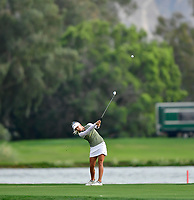 Pernilla Lindberg of Sweden plays the 18th hole during the playoffs with Inbee Park of Korea, and Jennifer Song of the United States, during the final round of the ANA Inspiration at the Mission Hills Country Club in Palm Desert, California, USA. 4/1/18.<br /> <br /> Picture: Golffile | Bruce Sherwood<br /> <br /> <br /> All photo usage must carry mandatory copyright credit (&copy; Golffile | Bruce Sherwood)
