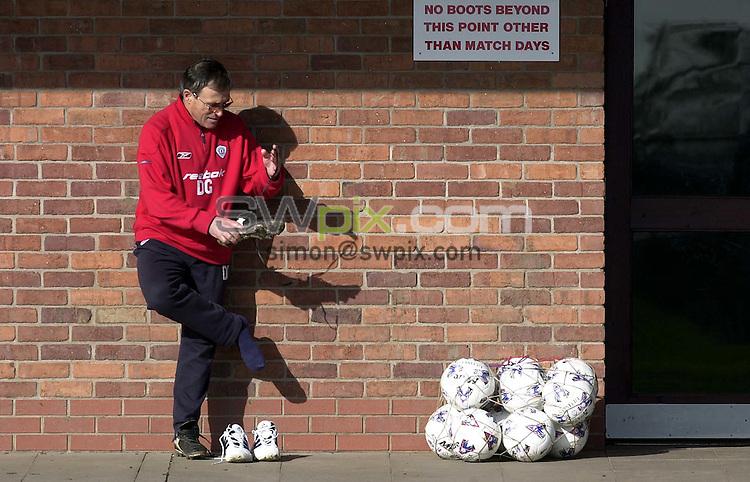 Pix: Simon Wilkinson/SWpix.com. Soccer, Crewe Alexandra's manager, Dario Gradi. Feature 14/02/2002...COPYWRIGHT PICTURE>>SIMON WILKINSON>>01943 436649>>..Boot camp. Crewe's manager Dario Gradi prepares to take his team training at the Reasehall training centre, Nantwich.