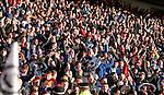 Rangers fans celebrating Joe Dodoo's late winner