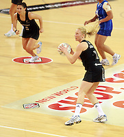 07.08.2010 Silver Ferns Laura Langman in action during the Silver Ferns v Samoa netball test match played at Te Rauparaha Arena in Porirua, Wellington. Mandatory Photo Credit ©Michael Bradley.