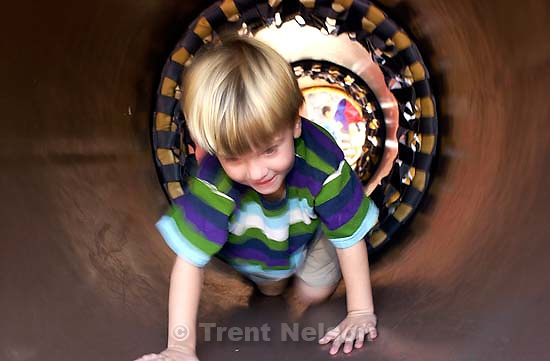 Nathaniel Nelson in tunnel at the California theme park. 10/07/2001, 12:11:31 PM<br />