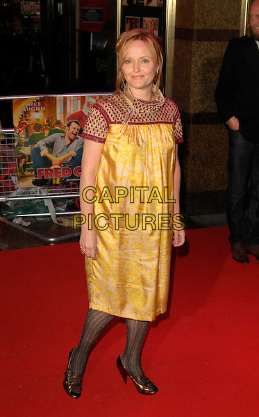 "MIRANDA RICHARDSON.Attending the European Film Premiere of ""Fred Claus"" at the Empire Leicester Square, London, England,.November 19th 2007..full length yellow red patterned print silk satin dress tights.CAP/CAN.©Can Nguyen/Capital Pictures"
