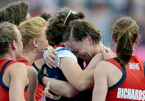10.08.2012. London, England. Players of Britain Celebrate After Winning the womens Hockey Bronze Medal Match between New Zealand and Britain  London 2012 Olympic Games Britain Won The Match 3 1 and claimed The Bronze Medal of The Event