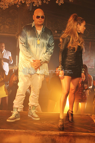 "NEW YORK, NY - SEPTEMBER 8: Fat Joe & Jennifer Lopez on the set of the video shoot for ""Stressin"" September 8, 2014 in New York City. Credit: Walik Goshorn/MediaPunch"