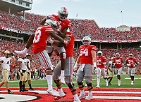 Ohio State Buckeyes wide receiver Terry McLaurin (83) celebrates with teammates after scoring a touchdown in the third quarter of Saturday's NCAA Division I football game against the Army Black Knights at Ohio Stadium in Columbus on September 16, 2017. Ohio State won the game 38-7. [Barbara J. Perenic/Dispatch]