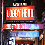 Theatre Marquee for the the Broadway Opening Night Performance for 'Lobby Hero' at The Hayes Theatre on March 26, 2018 in New York City.