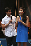 Telly Leung and Arielle Jacobs performing at the United Airlines Presents: #StarsInTheAlley Produced By The Broadway League on June 1, 2018 in New York City.