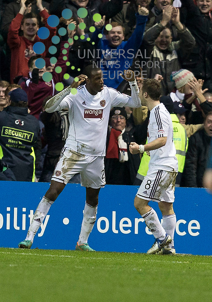 Inverness CT v Hearts, League Cup Semi Final ..Michael Ngoo celebrates goal during the SCOTTISH COMMUNITIES League Cup Semi Final between Inverness CT and Hearts at Easter Road Stadium on 26 January 2013...Picture: Alan Rennie/Universal News & Sport.