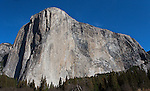 """Capitan's Glory"" Color- El Capitan, Yosemite NP. El Capitan is one of the most spectacular granite monoliths in the world.  Climbers from around the world flock to Yosemite Valley every year for a chance to climb this grand spectacle.  The most famous climbing route on El Capitan is ""The Nose"".  The route ascends the prow on the sun/shade line to the right of the Heart.  The prominent Heart appears as if was carved into the rock but is a natural formation on El Capitan."