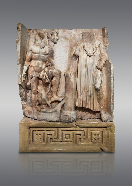 Roman Sebasteion relief  sculpture of Aineas' arrival in Italy Aphrodisias Museum, Aphrodisias, Turkey. <br /> <br /> Poseidon stands naked over a sea going ship stopped at a short column. SA dolphin jumps between his legs. Aineas, his head veiled in the Roman manner, pours a libation, a thanks offering for his safe arrival in Italy. Behing Poseidon's shoulders, a separately worked young male head was inserted into the background, maybe a deceased companion of Aineas.