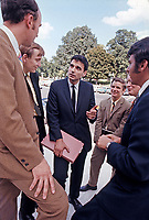"""Ralph Nader talking with members of """"Nader's Raiders"""" at US Capitol, Washington DC, 1969. Photo by John G. Zimmerman."""