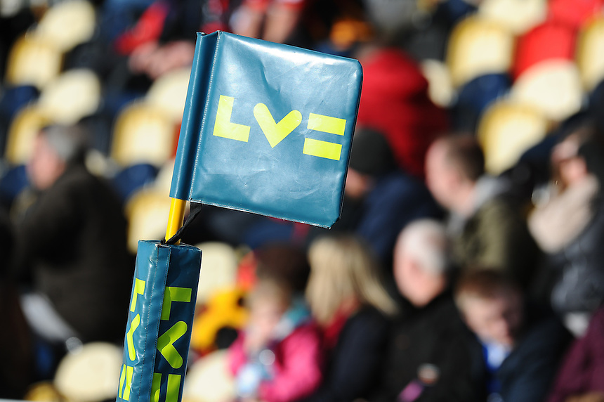 L V Cup branded flag<br /> <br /> Photographer Craig Thomas/CameraSport<br /> <br /> Rugby Union - European Rugby Challenge Cup Pool 3 - Newport Gwent Dragons v Exeter Chiefs - Sunday 1st February  2015 - Rodney Parade - Newport <br /> <br /> &copy; CameraSport - 43 Linden Ave. Countesthorpe. Leicester. England. LE8 5PG - Tel: +44 (0) 116 277 4147 - admin@camerasport.com - www.camerasport.com