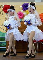 NWA Democrat-Gazette/DAVID GOTTSCHALK  Twins Mira (left) and Jett McKinney, both first grade students at Butterfield Elementary School, perform Thursday, May 25, 2017, a tap dance routine to a Wedding Mix of songs during the Butterfield's Got Talent Variety Show at the school in Fayetteville. Kindergarten through second grade performed in the show that featured puppets, dance and musical instrument performances.