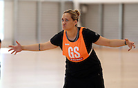 14.10.2014 Silver Ferns Cathrine Latu in action at the Silver Ferns Training ahead of their netball test match in Auckland tomorrow night. Mandatory Photo Credit ©Michael Bradley.