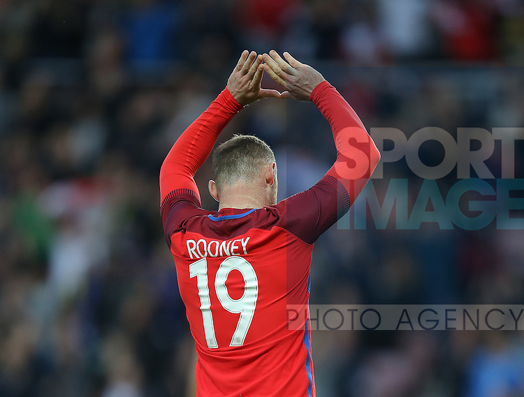 Wayne Rooney of England celebrates scoring the second goal during the International Friendly match at the Stadium of Light, Sunderland. Photo credit should read: Simon Bellis/Sportimage