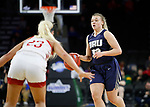 SIOUX FALLS, SD - MARCH 8: Keni Jo Lippe #33 of Oral Roberts looks past South Dakota defender Madison McKeever #23 at the 2020 Summit League Basketball Championship in Sioux Falls, SD. (Photo by Richard Carlson/Inertia)