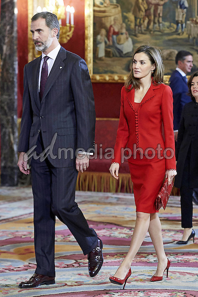 """30 January 2017 - Spanish Queen Letizia and King Felipe during the ë'Cervantes lives, closing of the commemoration of the 4th centenary of the death of Miguel de Cervantes"""" in Madrid. Photo Credit: PPE/face to face/AdMedia"""
