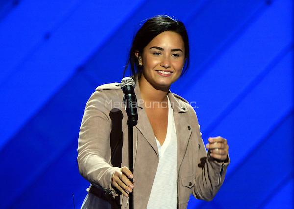 Demi Lovato rehearses prior to her performing at the 2016 Democratic National Convention at the Wells Fargo Center in Philadelphia, Pennsylvania on Monday, July 25, 2016.<br /> Credit: Ron Sachs / CNP/MediaPunch<br /> (RESTRICTION: NO New York or New Jersey Newspapers or newspapers within a 75 mile radius of New York City)