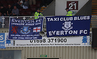 Everton banners in the Motherwell v Everton friendly match at Fir Park, Motherwell on 21.7.12 for Steven Hammell's Testimonial.
