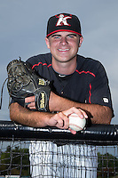 Kannapolis Intimidators relief pitcher Matt Cooper (32) poses for a photo prior to the game against the Hagerstown Suns at CMC-Northeast Stadium on July 19, 2015 in Kannapolis, North Carolina.  The Suns defeated the Intimidators 9-4.  (Brian Westerholt/Four Seam Images)
