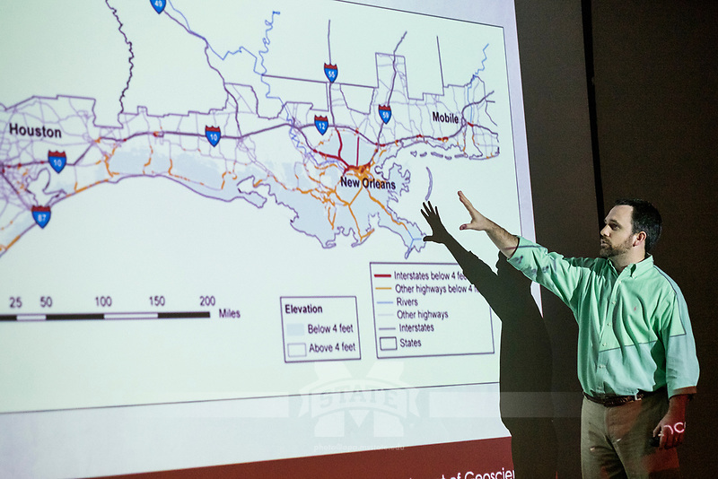 Earth Week 2017: 'Climate Change from a Research Perspective: An Overview and Discussion from MSU Climate Scientists' - a presentation by Associate Professor Jamie Dyer, Associate Professor Andrew Mercer and Assistant Professor Chris Fuhrmann of the university's Department of Geosciences.<br />  (photo by Megan Bean / &copy; Mississippi State University)